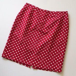 Talbots Red Polka Dot Pencil Skirt